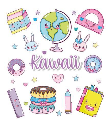Conjunto de dibujos animados kawaii