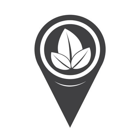 Icono de hoja de puntero de mapa vector