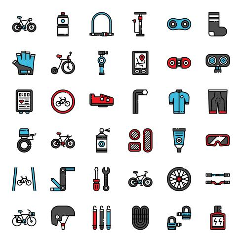 bicycle accessories fill outline icon