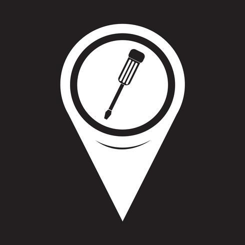 Mapa de puntero Destornillador icono vector