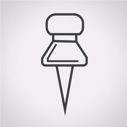 icono de pin de empuje vector