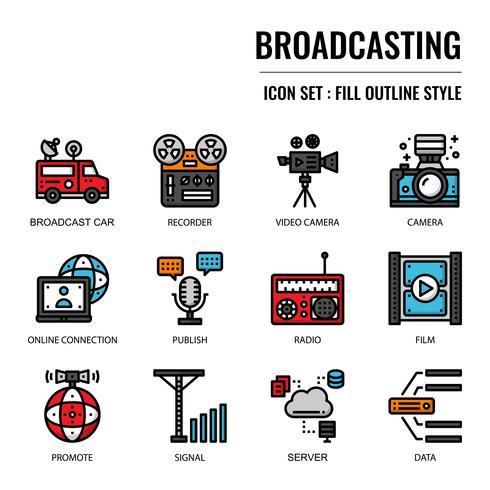 Icona di contorno di radiodiffusione