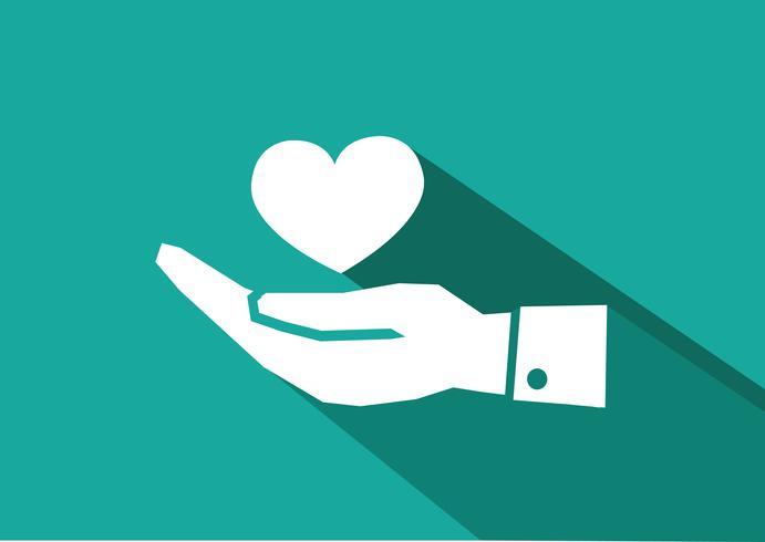 Pictograma de mano y corazón. vector