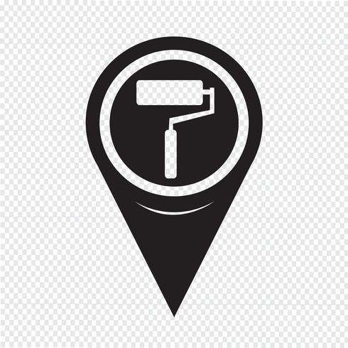 Kaart aanwijzer verfroller pictogram