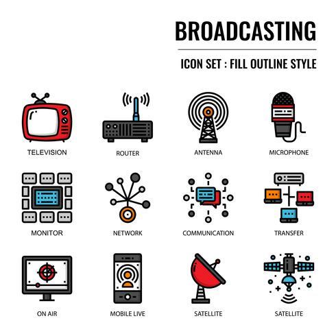 Icona di contorno riempito di radiodiffusione