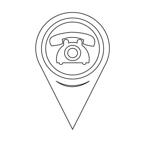 Puntero del mapa antiguo icono de teléfono vector