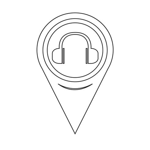 Map Pointer Headphones Icon