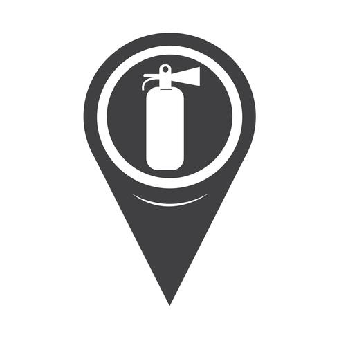 Map Pointer Fire Extinguisher Icon vector