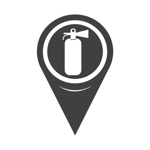 ícone de extintor de incêndio de ponteiro de mapa
