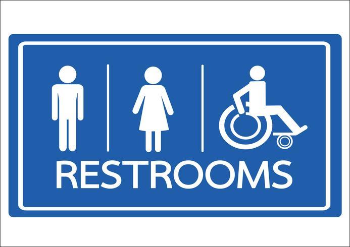 Icono de baño masculino femenino y silla de ruedas Icono de desventaja