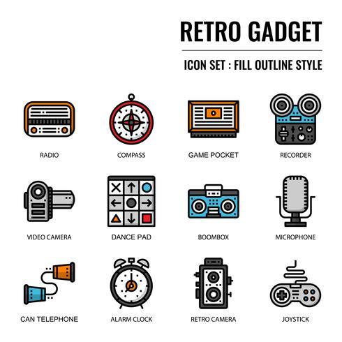 icono de gadget retro vector