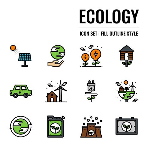 ecologie gevuld overzicht pictogram