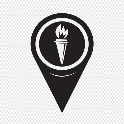 Icono de la antorcha del puntero del mapa vector