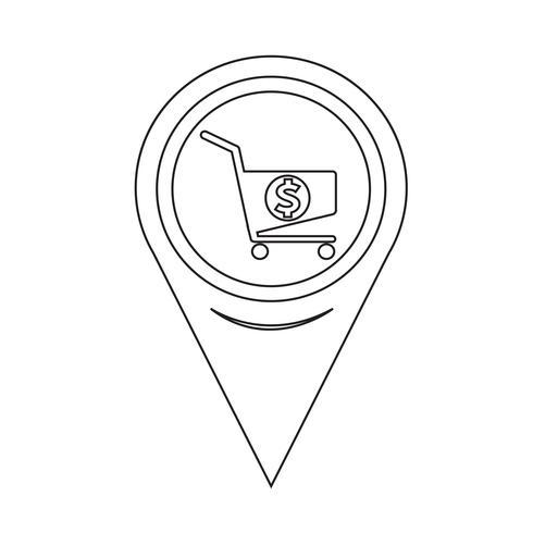 Ícone de carrinho de compras de ponteiro de mapa