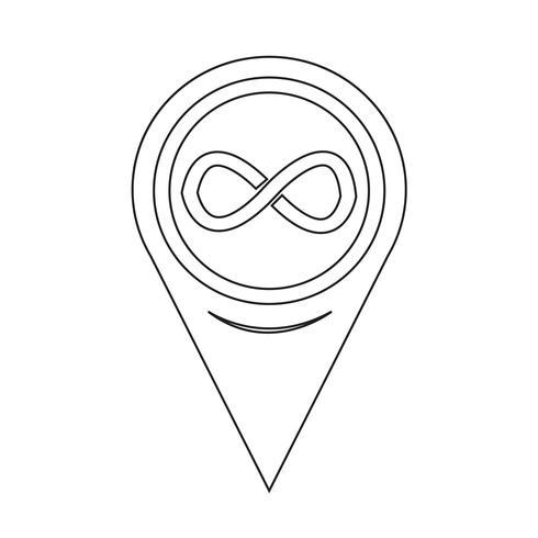 Icono de símbolo de infinito de puntero de mapa