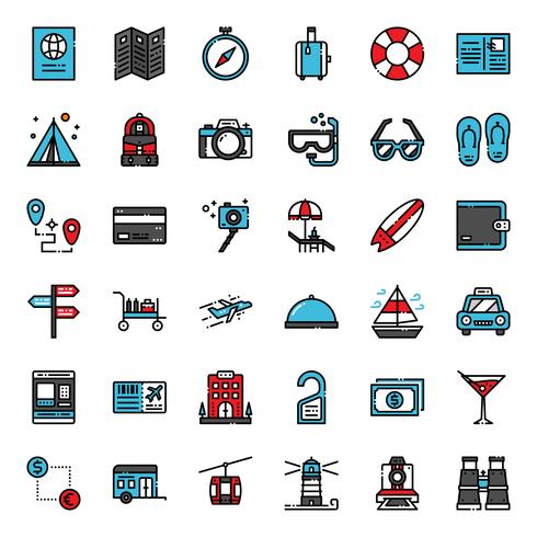 travel filled outline icon vector