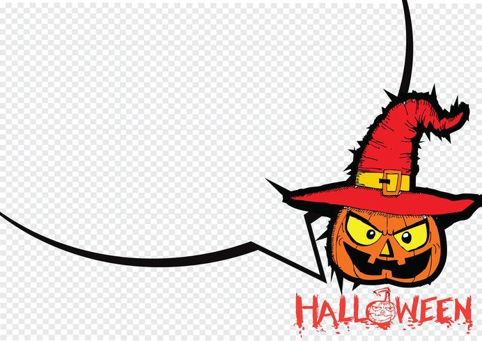 Halloween kort med pumpa och talande talbubbla