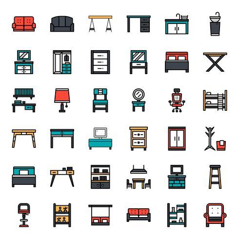 icono de contorno de muebles vector
