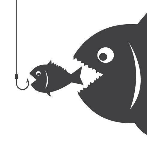 Stor fisk äter liten fisk vektor