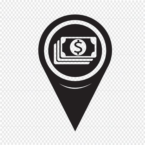 Icono de Pin Pointer Money del mapa