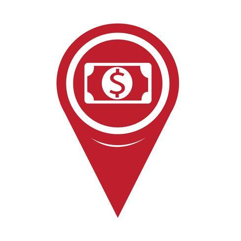 Icône de carte Pin Pointer Money