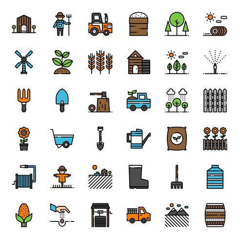 Agriculture filled outline icon vector