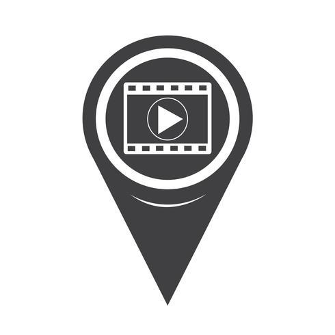 Icône de bande de film de pointeur de carte vecteur