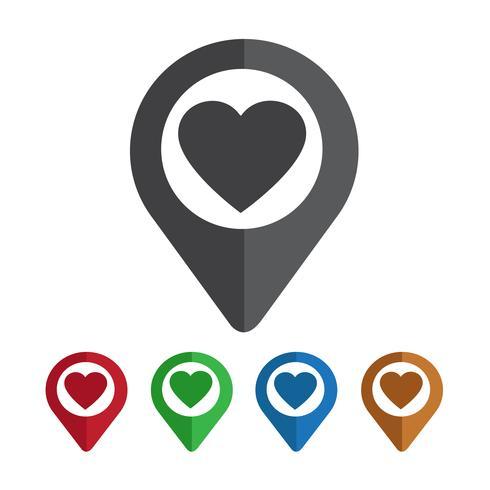 Mapa del puntero del corazon icono