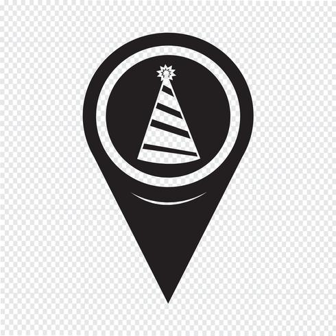 Map Pointer Party Hat Icon