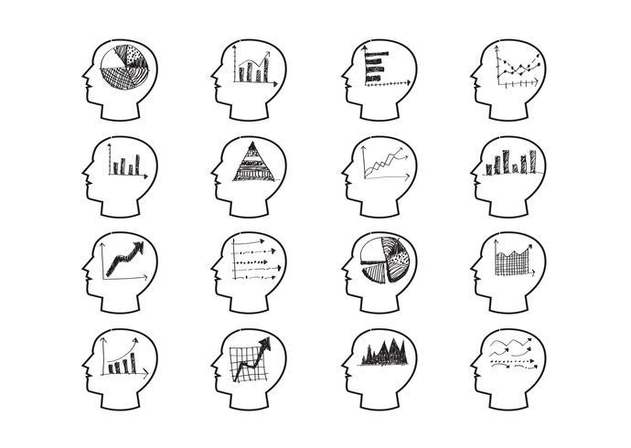 Tänkande huvuden diagram ikoner