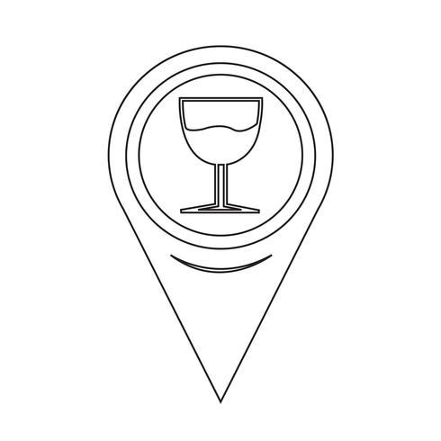 Kaart aanwijzer glazen drankje pictogram