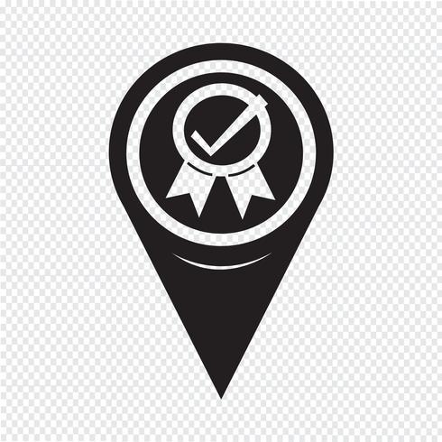 Icono de mapa puntero certificado vector