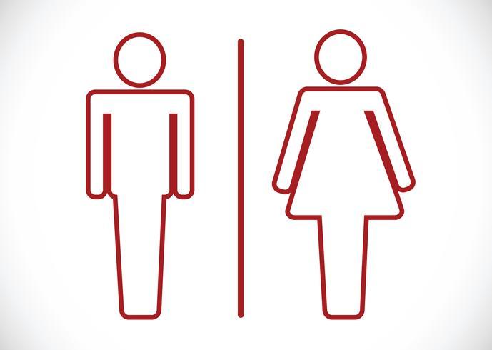 Icono de baño y pictograma hombre mujer signo