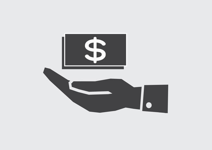 Icono de dólar de mano vector