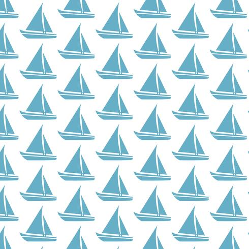 Sailing boat pattern background vector