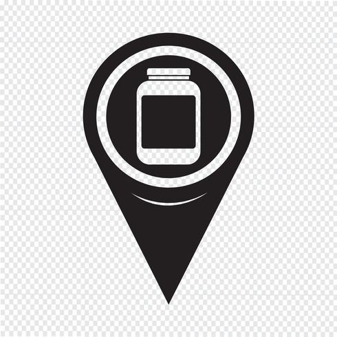 Kaart aanwijzer jar pictogram