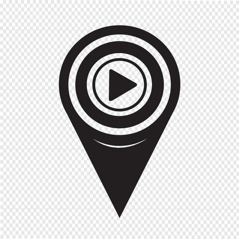 Map Pointer Play Icon vector