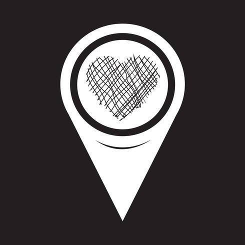 Map Pointer Heart Icon vector
