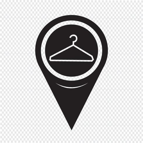 Map Pointer Clothes Hanger Icon vector
