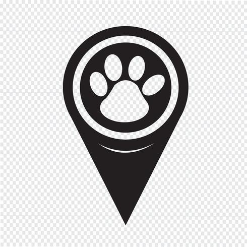 Ponteiro de mapa ícone de impressão de pata