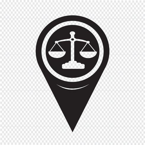 Map Pointer Scales Of Justice Icon vector