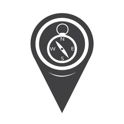 Kaart aanwijzer kompas pictogram