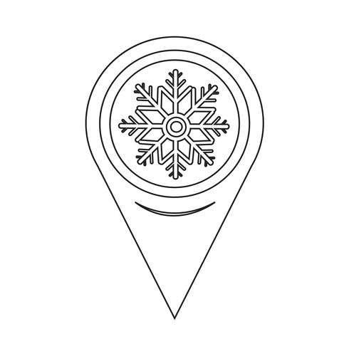 Map Pointer Snowflake Icon vector