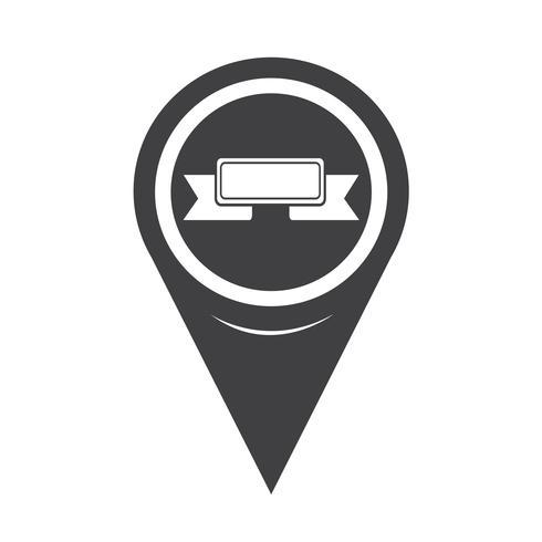 Map Pointer Ribbon Icon vector
