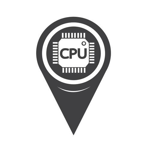Map Pointer CPU icon vector