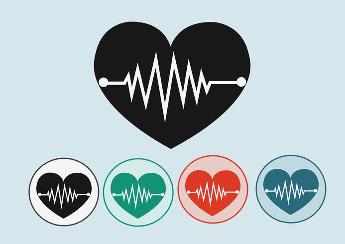 Heart wave icons vector