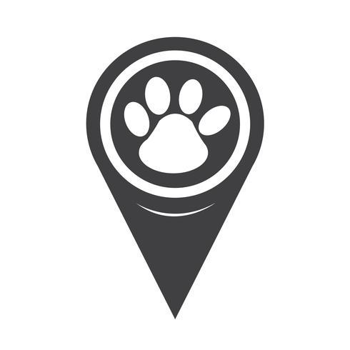 Icona di stampa zampa puntatore mappa