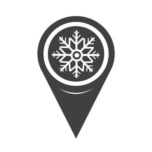 Map Pointer Snowflake Icon vector