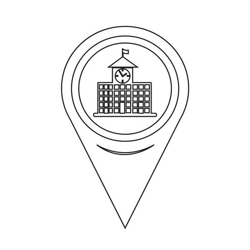 Map Pointer School Building Icon vector