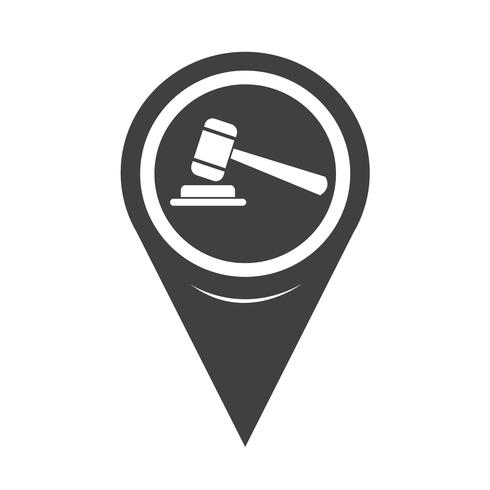 Map Pointer Gavel Icon